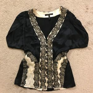 BCBG Silk with lace Top Size M